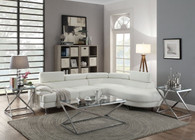 2PCS SECTIONAL SOFA CHAISE IN WHITE FAUX LEATHER