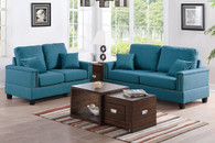 2PCS Sofa Set in Teal Linen with Four Accent Pillows