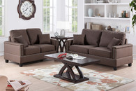 2PCS Sofa Set in CHOCOLATE LINEN  with Four Accent Pillows