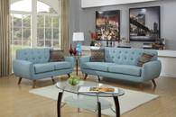 LOVESEAT SOFA SET WITH FOUR ACCENT PILLOWS AND IN LAGUNA LINEN