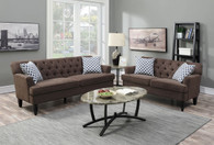 LOVESEAT SOFA SET WITH FOUR ACCENT PILLOWS AND IN DARK BROWN LINEN