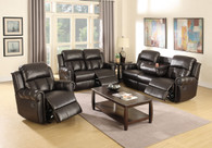 3PCS SET RECLINER LOVESEAT SOFA UPHOLSETERED IN ESPRESSO BONDED LEATHER