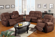 3PCS SET RECLINER LOVESEAT SOFA UPHOLSETERED IN CHOCOLATE MICROFIBER LINEN