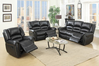 3PCS SET GLIDER RECLINER LOVESEAT SOFA IN BLACK BONDED LEATHER