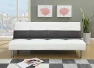 ADJUSTABLE SOFA UPHOLSTERED IN ASH WHITE FAUX LEATHER