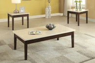 3PC Sleek Cream Faux Marble Top Coffee Table & End Table Set