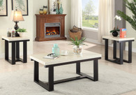 3PC COFFEE TABLE SET FAUX MARBLE TOP  IN A DEEP BROWN WOOD FINISH