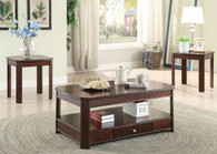 3PC Traditional Wooden Top Coffee Table & End Table Set