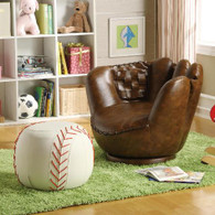 BASEBALL GLOVE CHAIR & OTTOMAN - 7005