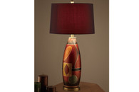 31-INCH RED POLYRESIN TABLE LAMP SET OF 2