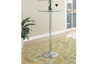 CLEAR TEMPERED GLASS TOP IN CHROME FINISH BAR TABLE