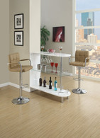WHITE BAR STAND TABLE WITH ROUNDED SHELVING SPACE