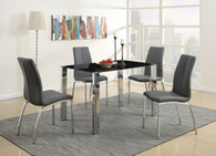 5-PCS GREY MODERN DINING ROOM SET WITH 8MM TEMPERED GLASS TOP