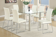 7-PCS WHITE MODERN DINING ROOM SET IN CLEAR 10MM TEMPERED GLASS TOP TABLE