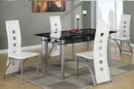 5PCS WHITE FAUX LEATHER RECTANGULAR TEMPERED GLASS TABLE TOP DINING SET