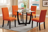 ESPRESSO WOODEN BASE AND GLASS 5 PCS DINING SET WITH ORANGE CHAIRS