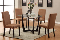 ESPRESSO WOODEN BASE AND GLASS 5 PCS DINING SET WITH SADDLE CHAIRS