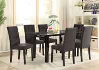 7-PCS BLACK CASUAL DINING ROOM SET IN CLEAR 8MM TEMPERED GLASS TOP TABLE