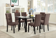 7-PCS CHOCOLATE CASUAL DINING ROOM SET IN CLEAR 8MM TEMPERED GLASS TOP TABLE