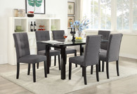7-PCS BLUE GREY CASUAL DINING ROOM SET IN CLEAR 8MM TEMPERED GLASS TOP TABLE