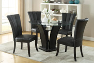 5-PIECES ROUND GLASS 8MM TEMPERED GLASS TABLE DINING ROOM SET IN BLACK PU LEATHER CHAIRS