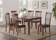 7PCS CHERRY FINISH WOOD DINING TABLE SET WITH FAUX LEATHER PADDED SEATS