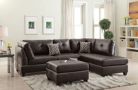 ESPRESSO BONDED LEATHER SECTIONAL OTTOMAN SOFA SET