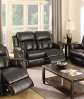 ESPRESSO BONDED LEATHER RECLINE MOTION LOVESEAT