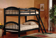 BLACK TWIN OVER TWIN BUNK BED AND 2 MATTRESSES COMBO