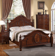 QUEEN/KING SIZE MASTER BEDROOM SET IN NATURAL CHERRY WOOD FINISH