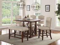 SET OF 5 COUNTER HEIGHT DININGTABLE IN DARK CHERRY FINISH WOOD WITH PADDED SEATS