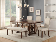 SET OF 5 DINING TABLE IN DARK CHERRY FINISH WOOD WITH PADDED SEATS
