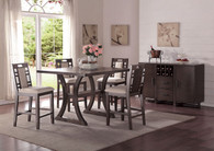 5PCS COUNTER HEIGHT DINING TABLE SET W/ CURVED LEG SUPPORTS AND LOWER DISPLAY PLATFORM