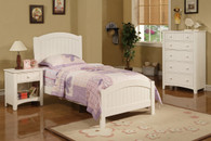 ACCENTED WHITE TWIN BED