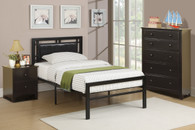 BLACK BEDROOM METAL PLATFORM WITH SLATS TWIN/FULL BED