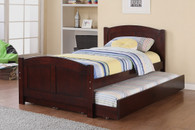 TWIN BED WITH TRUNDLE IN DARK CHERRY WOOD FINISH