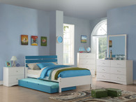 BLUE TWIN/FULL BED WITH TRUNDLE IN WHITE BED FRAME