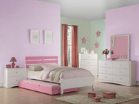 PINK TWIN/FULL BED WITH TRUNDLE IN WHITE BED FRAME