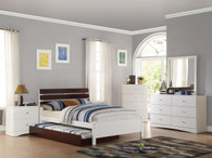 BROWN TWIN/FULL BED WITH TRUNDLE IN WHITE BED FRAME