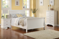 SLEIGH DESIGN WHITE TWIN/FULL BED FRAME