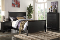 SLEIGH DESIGN BLACK TWIN/FULL BED FRAME