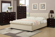 ACCENTED FULL/QUEEN SIZE BED PLATFORM UPHOLSTERED IN HAZELNUT LEATHER