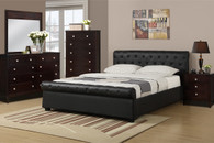 ACCENTED FULL/QUEEN SIZE BED PLATFORM UPHOLSTERED IN BLACK LEATHER