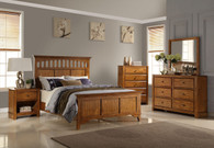 BEDFRAME PLATFORM IN WALNUT WOOD FINISH WITH WIDE PANEL