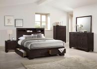 DARK BROWN BEDROOM BED FRAME PLATFORM WITH 4 UNDER STORAGES
