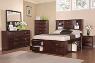 ESPRESSO BEDROOM BED FRAME PLATFORM WITH SHELF AND 8 STORAGES