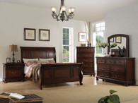 SLEIGH DESIGN KING/QUEEN BED FRAME IN CHERRY WOOD FINISH