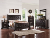 REGAL BED FRAME WITH UPLHOLSTERED HEADBOARD AND TUFTING ACCENT