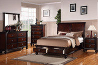 KING/QUEEN SIZE BEDROOM BED FRAME DARK BROWN FINISH WITH STORAGE