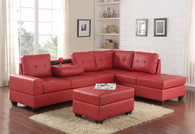 3 PCS HEIGHTS SECTIONAL With Dropdown Table And OTTOMAN SET RED - 3HEIGHTS-RD